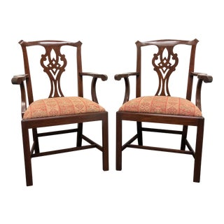 Henkel Harris Model 101 a Mahogany Chippendale Dining Captain's Armchairs - Pair For Sale