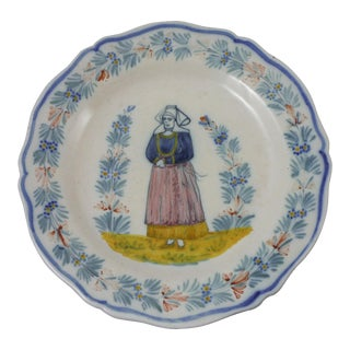 Antique French Quimper Plate Signed Hr Quimper For Sale