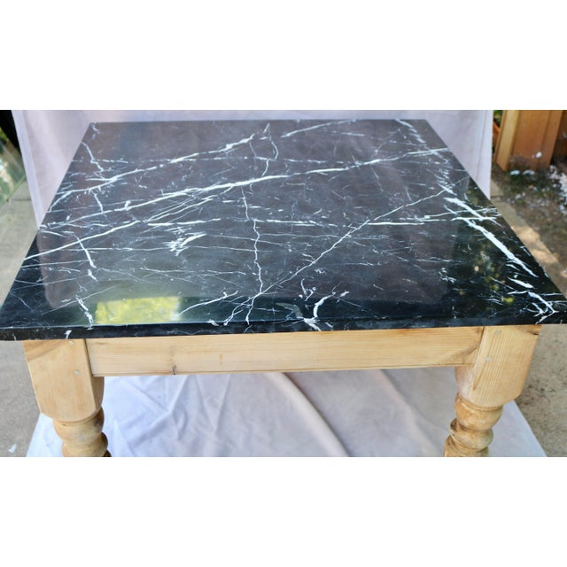 French Late 20th Century French Farm Table With Black Marble Top For Sale - Image 3 of 6