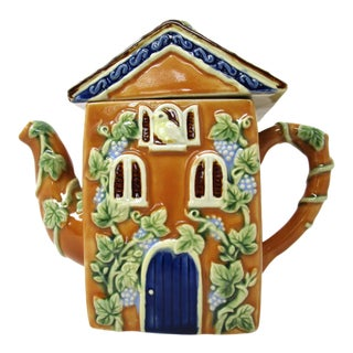 Art Nouveau Majolica English Cottage China Teapot With Grapes Berries For Sale