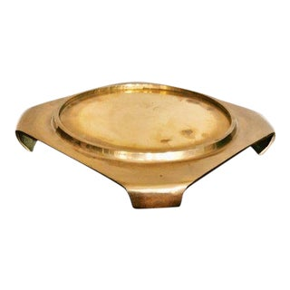 20th Century Hollywood Regency Square Brass Plant Stand Coaster For Sale