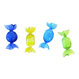 Italian Murano Art Glass Candy Pieces Blue Yellow Green - 4 Pieces For Sale