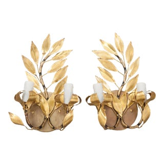Mid 20th Century Laurel French Gilt-Brass Leaf Two-Light Sconces - a Pair For Sale
