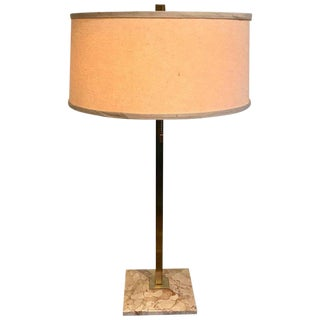 Midcentury Brass and Marble Lamp by Stiffel