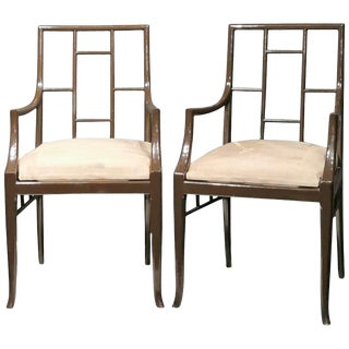 """1970s Vintage French Maison Jansen Dark Grey """"Chinoiserie"""" Armchairs- A Pair For Sale"""