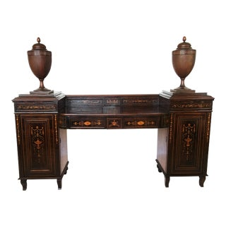 Early 19th Century Regency Marquetry Inlaid Rosewood Pedestal Sideboard With Urn For Sale