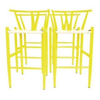Hans Wegner Style Wishbone Bar Stools - Set 4