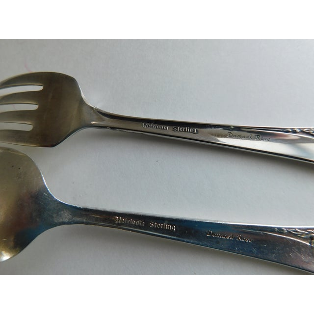 Heirloom Sterling Baby Spoon and Fork Damask Rose Pattern For Sale - Image 10 of 13