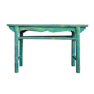Chinese Rustic Distressed Blue Green Wooden Side Table For Sale