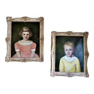 Mid-Century Girl and Boy Portrait Paintings in Limed Gesso Frames - Set of 2 For Sale