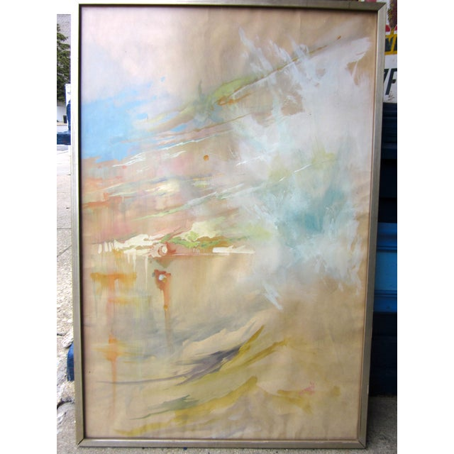 1960s Vintage Mid-Century Abstract Soft Pastel on Paper Signed & Framed Painting For Sale - Image 5 of 10