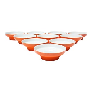 Set of Ten Orange 'Contempri' Bowls by Paul McCobb for Jackson Internationale For Sale