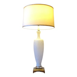 Vintage Bauer White Murano Glass Vessel Brass Base Table Lamp For Sale