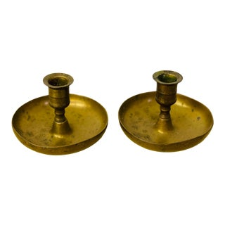 Antique 1800s Brass Candlestick Holders- a Pair For Sale