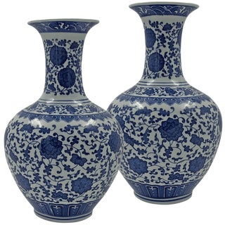 Pair of Chinese Blue and White Chrysanthemum Vases For Sale