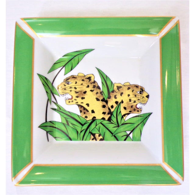 This is a vintage limoges porcelain square trinket tray / catchall. It is in a beautiful emerald green with two spotted...