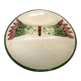 Vintage Majolica Divided Asparagus Serving Dish