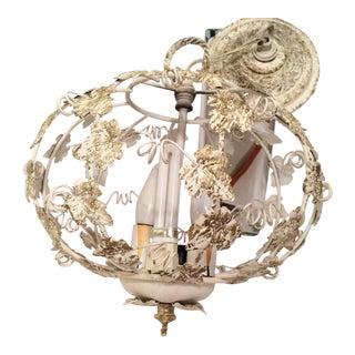 1950s Italian Tole Birdcage Ball Chandelier White Gold Leaves Light Fixture Lamp For Sale
