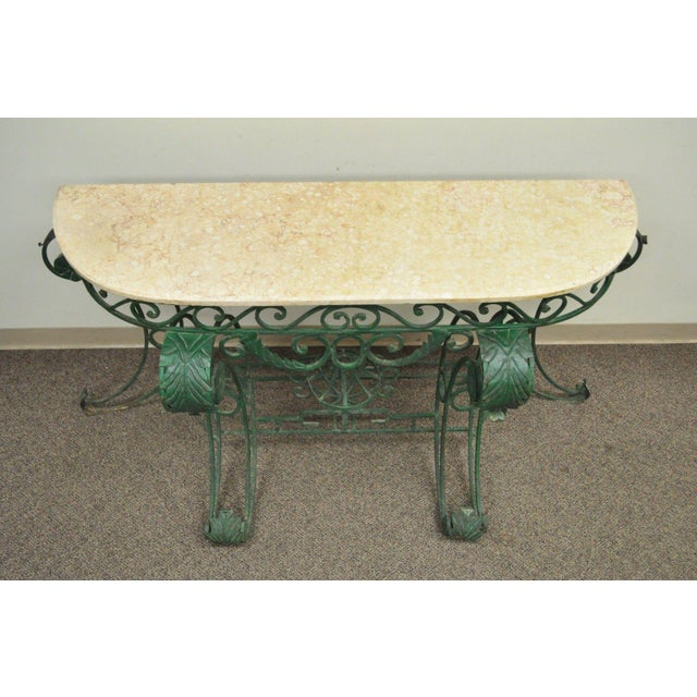 "65"" W Ornate Italian Regency Style Green Wrought Iron Marble Top Console Table - Image 4 of 11"