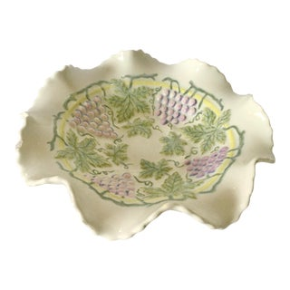 Vintage Mid-Century Majolica Dish With Grape and Vine Motif For Sale