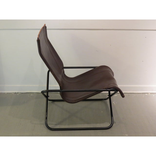 Vintage MCM Uchida Leather Sling Chair For Sale - Image 9 of 11