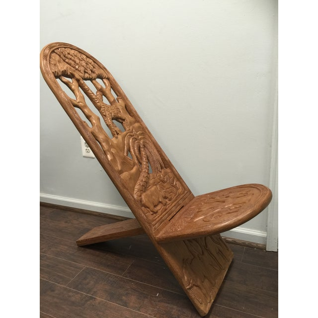 Kenyan Hand Carved Lazy-Chair - Image 3 of 6