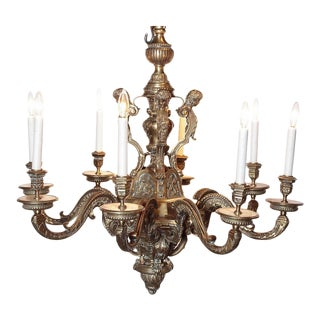 19th Century French 8-Light Bronze Chandelier For Sale