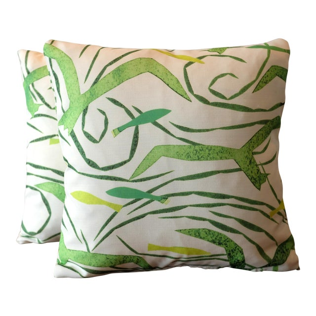 Donghia Italian Tropical Pattern Pillow Covers - A Pair For Sale