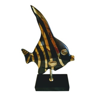 Metal Angel Fish Ornament on Wooden Stand For Sale
