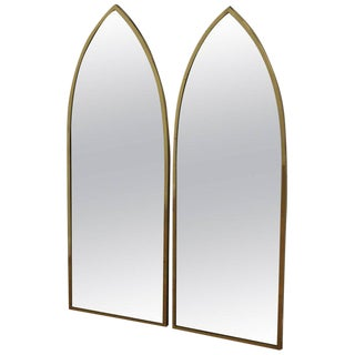 Pair of Mid-Century Modern Brass Arched Mirrors For Sale