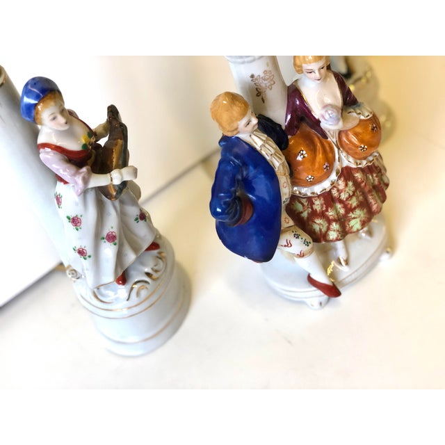 French Porcelain Lamps With Musician and Dancer Figurines - Set of 3 For Sale - Image 3 of 13