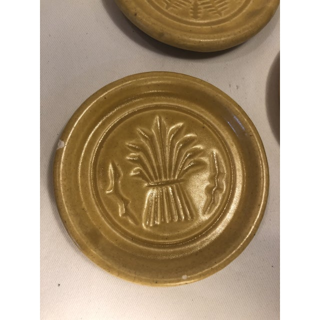 Pigeon Forge Pottery Yellow Coasters-Ashtrays Old Buttermold - Set of 4 For Sale - Image 4 of 13