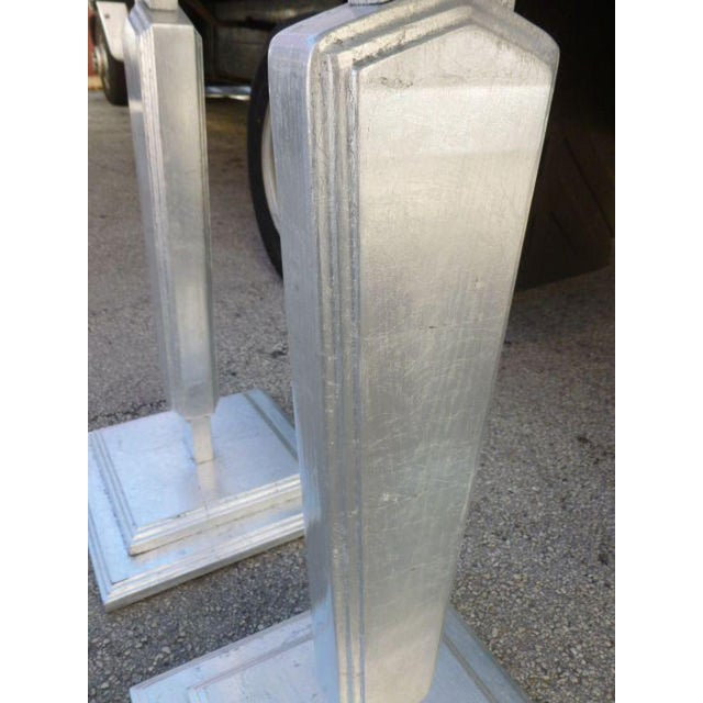 1930s Vintage Silver Leafed Art Deco Wood Pedestals - A Pair For Sale - Image 9 of 12