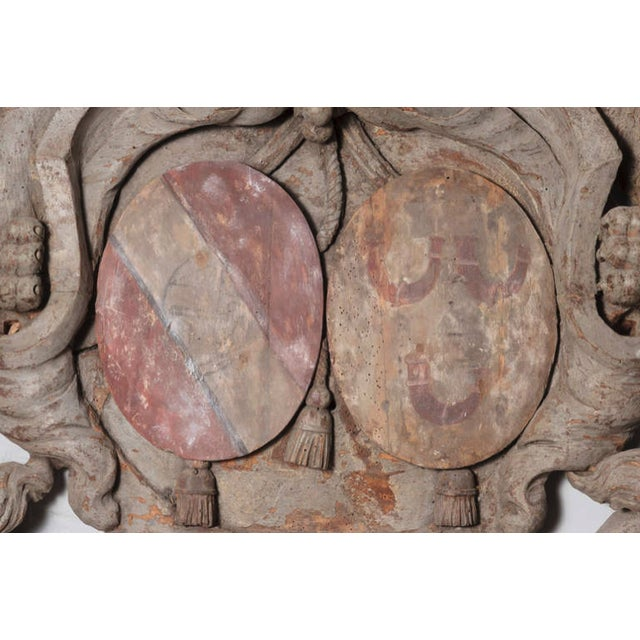 Tan Early 18th Century Antique Dutch Lions Coat of Arms Wood Carving For Sale - Image 8 of 9