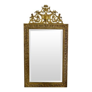 French 19th Century Baroque Style Bronze Mirror For Sale