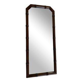 Faux Bamboo Wood Framed Beveled Wall Mirror For Sale