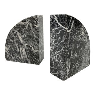 Black Zebra Marble Bookends, Pair For Sale