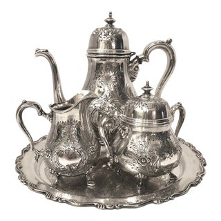 Vintage Georgian Court Tea Set Silver Plated With Tray - 4 Pc Set For Sale