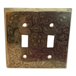 Vintage Mid Century Brass Etched Light Switch Cover For Sale