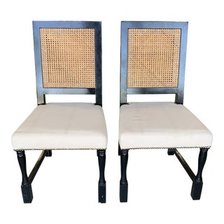 Late 20th Century Double Caned Back Upholstered Chairs - a Pair For Sale