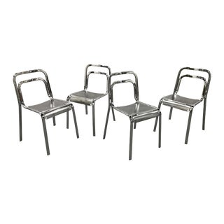 1990s Italian Metal Stacking Chairs - Set of 4 For Sale