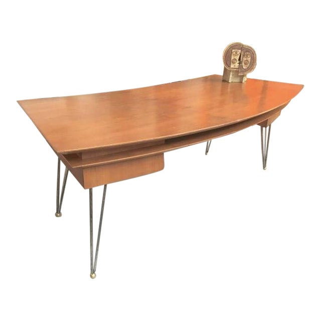 Jean Royère Documented Superb Curved Two Drawers Desk With Metal Legs For Sale