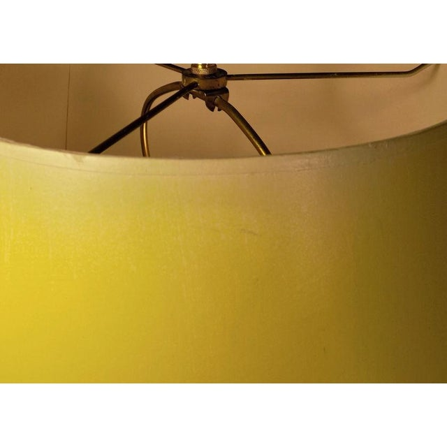 Vintage Frederick Cooper Hand Painted Pottery Table Lamp & Yellow Shade For Sale - Image 10 of 11