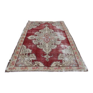 Vintage Turkish Anatolian Handmade Home Decorative Red Color Area Size Rug- 5′7″ × 8′3″ For Sale