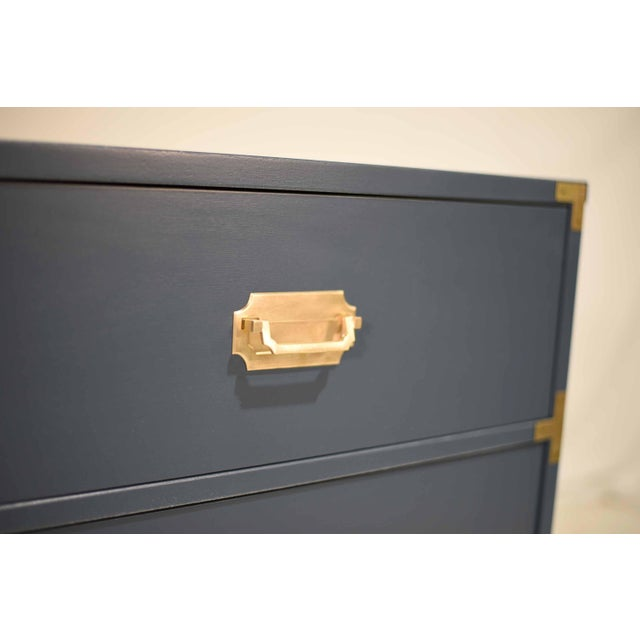 1970s Blue Six Drawer Campaign Dresser or Chest - Newly Painted For Sale - Image 9 of 12