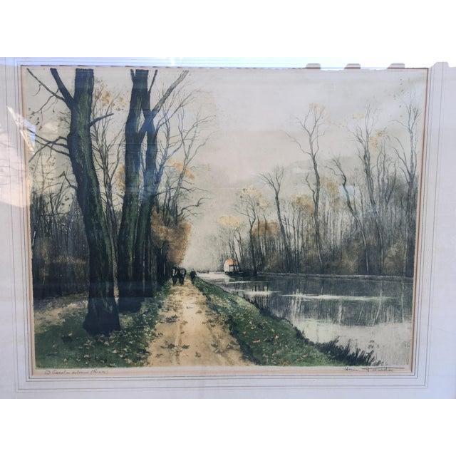 """Canal en Automne (France)"" Signed Henri Jourdain Color Etching For Sale - Image 9 of 13"