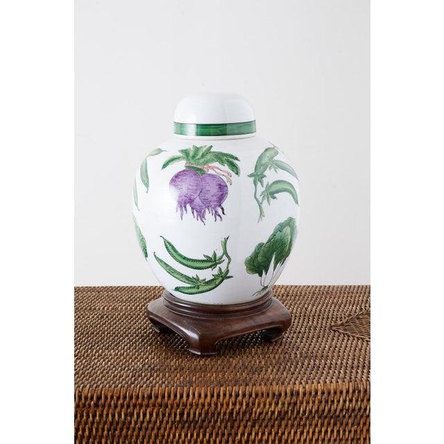 Chinese Export Porcelain Lidded Ginger Jar on Stand For Sale - Image 9 of 13