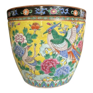 Circa 1900 Japanese Nippon Fish Bowl Planter For Sale