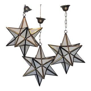 1970s Brass Star Constellation Pendant Lights - Set of 3 For Sale