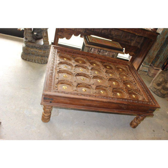 Rustic Hand Carved Coffee Table With Reclaimed Brass Stars For Image 6 Of